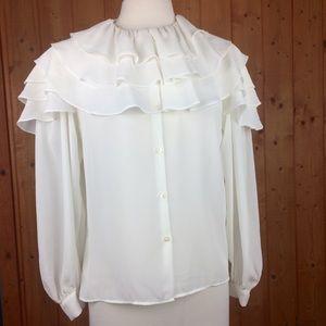 Vintage Liz Claiborne White Chiffon Ruffle Blouse